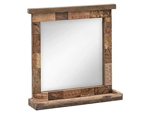 Woodkings® Bad Spiegel Patna 70x70 Altholz mit Ablage massiv Echtholz Rahmen aus Alten Ziegelformen Badspiegel Wandspiegel Badmöbel Badezimmermöbel Massivholz Unikat