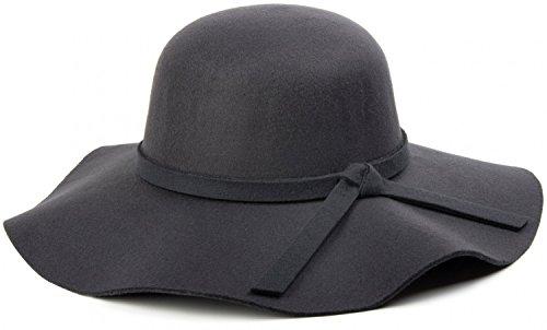 styleBREAKER Damen Floppy Fedora Filzhut mit abnehmbarem Zierband und Schleife 04025004, Farbe:Anthrazit
