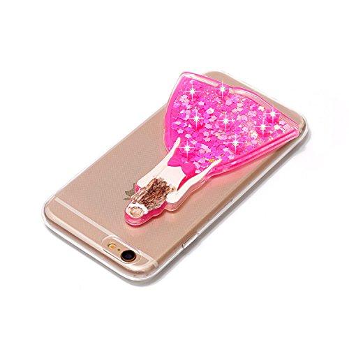 iPhone 6 Plus/6S Plus Coque, Voguecase TPU avec Sables Mouvants Intérieur, Etui Silicone Souple Transparent avec Absorption de Choc, Légère / Ajustement Parfait Coque Shell Housse Cover pour Apple iPh Fille de mariage/Rouge