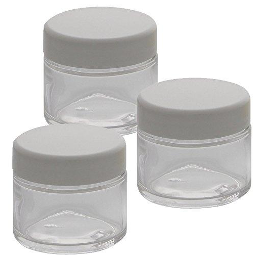 Klar-Glas Tiegel 50ml mit Deckel Weiß, Leere Kosmetex Creme Glas-Dose, Kosmetik-Dose aus Klarglas, Klar - Weiß, 3 Stück
