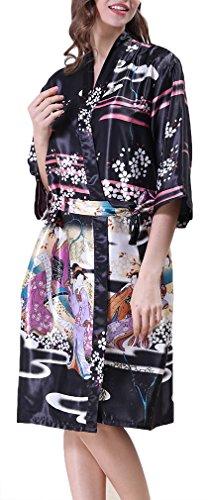 FLYCHEN Femme Kimono Beauté Robe de Chambre Exotique en Satin avec Manche 3/4 Noir