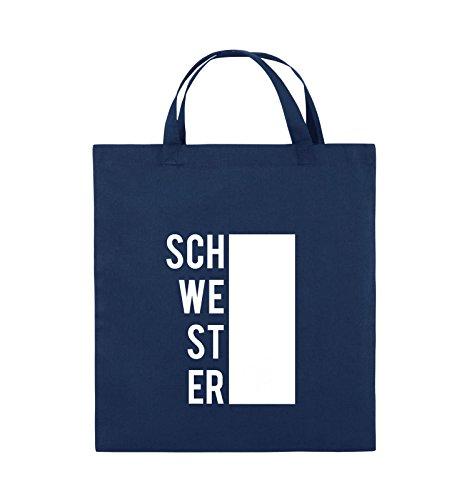 Navy Weiss 38x42cm Comedy Henkel Bags Schwarz Pink SCHWESTER Farbe BLOCK Jutebeutel kurze PvRwqg