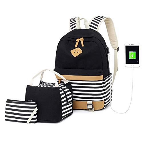 Zaino Donna Borsa Viaggio Canvas Rucksack Ragazze Adolescenti Scuola Studente Università 15.6 Pollici Laptop Notebook Taccuino Women USB Backpack Girls Travel Casual Bag Daypack Piccolo (6-Nero)