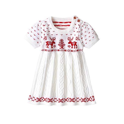 Ucoolcc Kinder Mädchen Kleider Strick Kurze Ärmel Pullover Kleider Weihnachten Karikaturdruck Strickwaren Kleidung