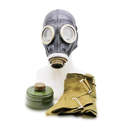 Maske Gas Kostüm Mit - OldShop Gasmaske GP5 Set - Sowjetische Militär Gasmaske Replica Sammlerstück Set W/ Maske, Tasche, Filter - authentischer Look & Verschiedene Größen erhältlich Farbe: Schwarz | Größe: L