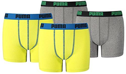 Puma Jungen Boxershort KIDS Limited Black Edition 4er Pack - yellow-grey power - Gr. 152 (Boxershorts Jungen)