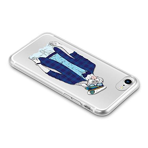 Cover iPhone 8 Cover iPhone 7, JAMMYLIZARD [Sketch] Custodia in Silicone Trasparente Semi Morbido Ultra Slim con Disegno per Apple iPhone 8 e Apple iPhone 7, ALICE SILHOUETTE CANE MARINAIO