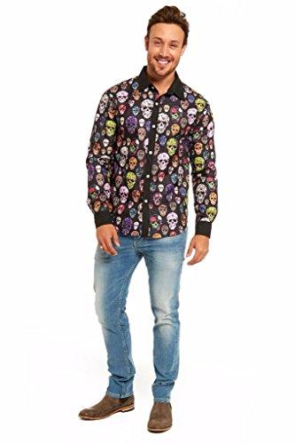 Kostüme Kontakte Mit Halloween Blauen (YOU LOOK UGLY TODAY Stylisch Lustig Halloween Hemd Kostüme Shirt mit Festlichen Spielerischen Schädel Mustern für Herren Männer - Mehrfarbig /)