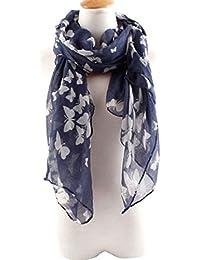 Sanwood® Weicher Elegant Voiler Schal Halstuch Umhang Schmetterling Muster Blumen