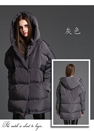 BININBOX® Damen Warme Steppjacke mit Kapuzen verdickende Daunenjacke Parka Mantel in 3 Farben Grau