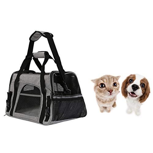 Tragbare Tragetasche für Haustiere, leichte Tragetasche für Hunde, Pet Cage Canvas Folding Puppy Fabric Travel Bag,Gray -