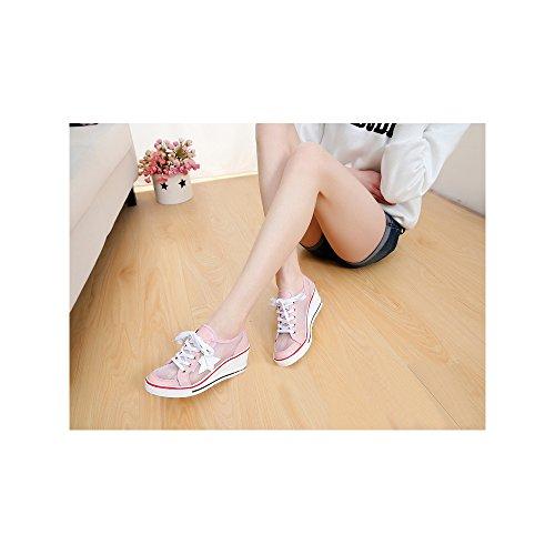 Compensati Tela Da Donna Pink Ginnastica Ochenta Moda Scarpe Scarpe Chiusura In Tacco Pizzo 7 x6cUpqwXIp