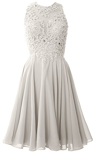 MACloth Women High Neck Lace Cocktail Dress Short Prom Homecoming Formal Gown Elfenbein