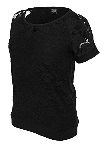 Womens Double-layer-t-shirt (Urban Classics Ladies Double Layer Laces Tee Girl-Shirt schwarz M)