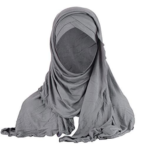 Yvelands Damen Indien Hut muslimischen Rüschen Krebs Chemo Beanie Turban Wrap Cap Schal Schal(Grau)