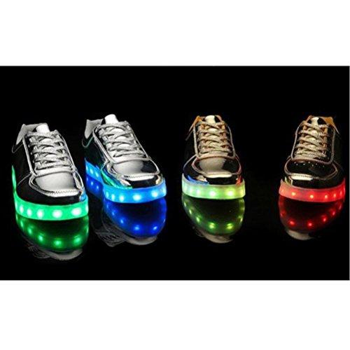 [+Piccolo asciugamano]Luci LED colorati bagliore e ricarica scarpe dargento nuovo scarpe casual USB maschio luminoso e di coppia scarpe femmin c38