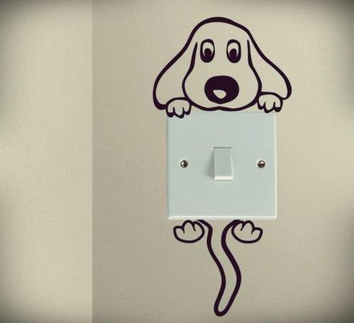 Cute Dog Cartoon cani cucciolo bambino Pet Luce Interruttore Adesivi da Parete Decalcomania Vinile Love Cuore Decor Casa Live Bambini divertenti