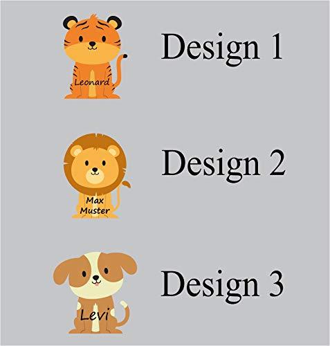 Mabi-IN-Design 50 Stück Namensaufkleber Sticker mit Namen 3,5cm Höhe Etiketten für Kinder, Schule und Kindergarten, individueller Druck personalisiert kontergeschnitten A106