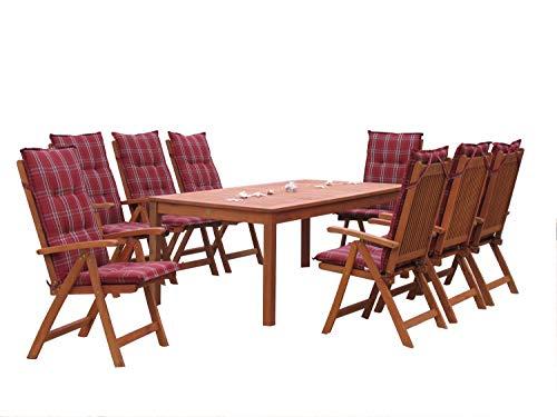 GRASEKAMP Qualität seit 1972 Gartenmöbel 17tlg mit 200cm Tisch Santos Terrassenmöbel Rubinrot Eukalyptus
