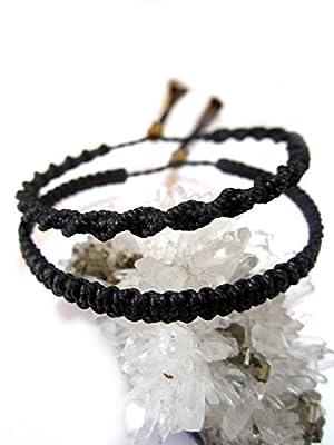 X2 Bracelets brésiliens/Amitié/En fil noir tissés/tressés main en macramé avec du fil ciré et ajustable Réf.PP+PSpreto