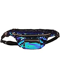 Buyworld Unisex Waist Bag Waterproof Waist Travel Belt Money Wallet Pouch Hip Bag Pack Leisure Sequins Ni Zip...