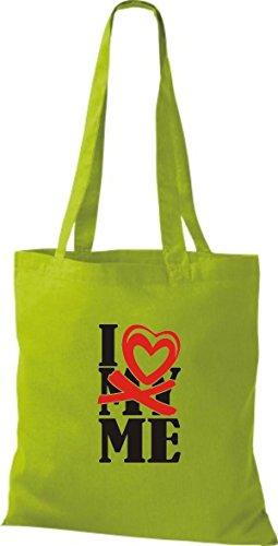 ShirtInStyle Shopper Valentinstag I Love ME kiwi