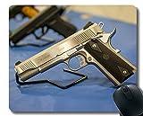 Yanteng Gaming Mouse Pad Custom, Pistola Pistola Pistola de Metal de protección Mouse Pad con Borde Cosido