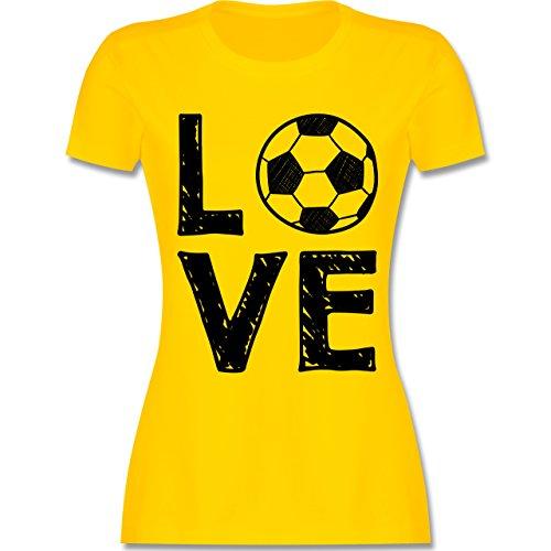 Shirtracer Fußball - Love Fußball - Damen T-Shirt Rundhals Gelb