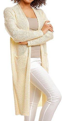 Zeta Ville - Cardigan maille Gilet poches sur devant coupe droite - Femme - 114z Jaune