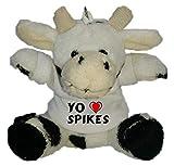 Shopzeus Vaca de Peluche (Llavero) con Amo Spikes en la Camiseta (Nombre de Pila/Apellido/Apodo)