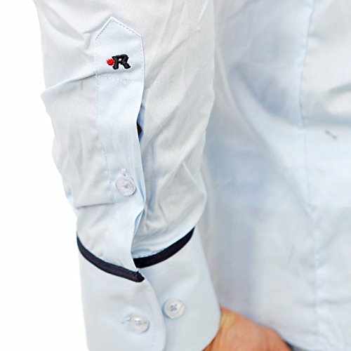 Reslad Herren Hemd Langarm Kontrast Hemd Madison RS-7090 Hellblau-Navy