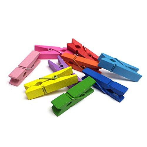 Sepkina 100 kleine süße Mini Zierklammern Dekoklammern Klammern Holz Wäscheklammern Miniklammern Holzklammern Natur Mix bunt (SD-DK-100-Mix)