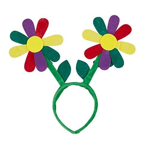 Kostüm Schmuck Gute - Relaxdays Haarreif Blumen, Kopfschmuck Fasching, Party-Accessoire für Flower-Power-Kostüm, Blumenreif Hippie, grün/bunt, Standard