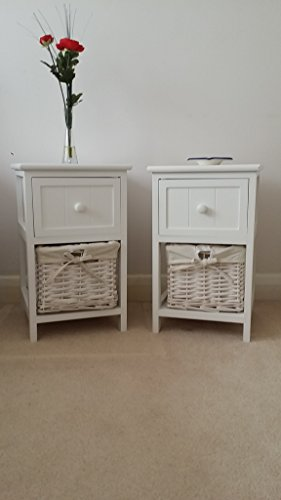 White Bedside Table With Wicker Storage Baskets Bedroom Furniture Cabi