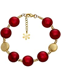 Valentina Murano Glass Red and Gold Plated Bracelet of Length 20.5 cm VC8HQ4q7QU