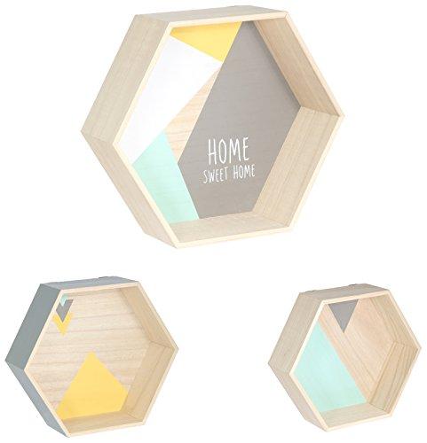 THE HOME DECO FACTORY -HD4508 - Lot de 3 Étagères Hexagonales, Bois, Vert/Gris, 35 x 11 x 30 cm
