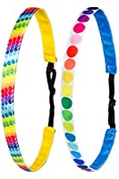 Ivybands Kids Non-Slip Headband for Children Pack of 2  Rainbow Edition I   Coloured Spots   Professional Kids Detangling Band (8) IKID012IKID019