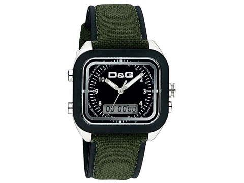 D&G Dolce&Gabbana DW0297 - Reloj analógico - digital de caballero de cuarzo con correa textil verde (alarma) - sumergible a 50 metros