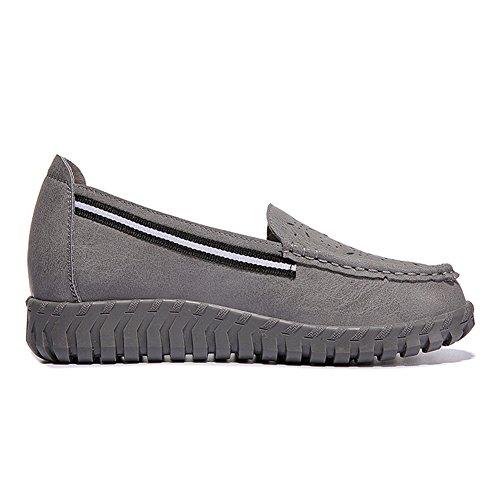 Damen Erbsenschuhe Leder Halbschuhe Comfort Rundzehen Niedrige Hohl Atmungsaktiv Schuhe Grau