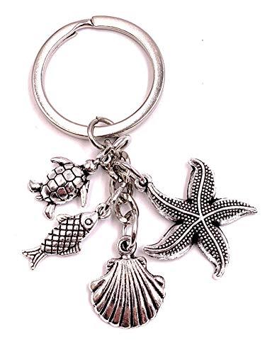 Onlineworld2013 Schlüsselanhänger Seestern Muschel Schildkröte Fisch Silber Metall Anhänger Charm (Seestern Schlüsselanhänger)