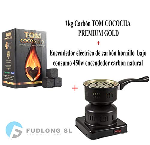 PAIDE P DIGITAL Pack 1kg CARBÓN para cachimba TOM COCOCHA Premium Gold, HORNILLO 450W Encendedor cachimba...