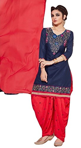 Shalibhadra blue color top with red color duppata and red color salwar cotton unstitched fully heavy Embroidered work patiala suit pataliya dress material for women
