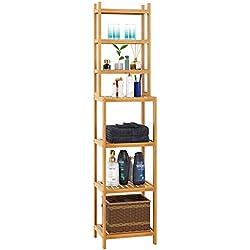 Homfa Estanterías separadas Bambú para baño con 7 niveles (4 grandes y 3 pequeños) (Bambú natural)