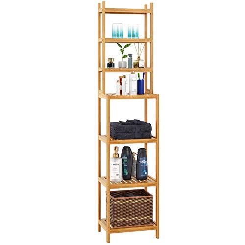 Homfa Estanterías separadas Bambú para baño con 7 niveles (4 grandes y...