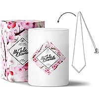 MY JOLIE CANDLE • Bougie Parfumée avec Bijou Surprise à l'Intérieur • Cadeau : Collier • Parfum Fleur de Cerisier • Cire Naturelle 100% Végétale