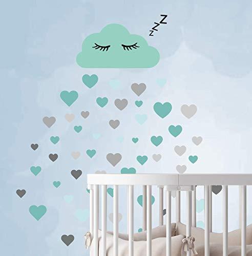 60 Teile Wolken mit Gesicht Wandtattoo Kinderzimmer Set - Rauhfaser Wandsticker Pastell Farben Baby Tapete Sticker zum Kleben, Wandaufkleber Sleepy Eye Wanddeko, Wandfolie, Kleinkinder, Mädchen Türkis
