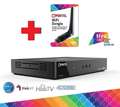 OPENTEL UHD 4000 TVS WIFI Ricevitore Satellitare 4K UHD con HbbTV primo ricevitore tivùsat 4K UHD con nuovo standard servizi interattivi HbbTV e