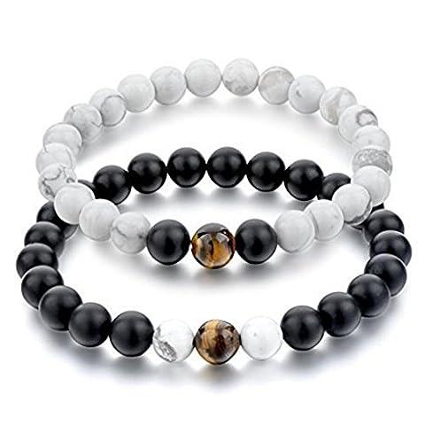 Belons Couple Bracelet extensible 8mm howlite Blanc et Noir mat Agate Tigre d'aigle d'énergie Perles Distance Ensemble bracelet,