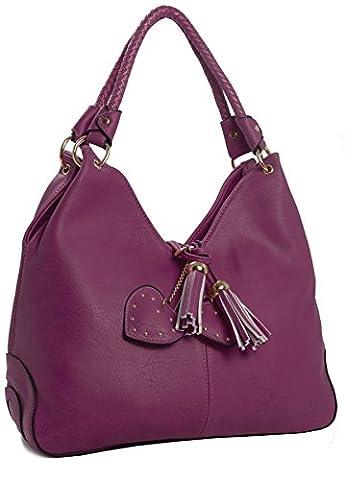 Big Handbag Shop Womens Braided Two Handle Tassel Effect Hobo Shoulder Bag (Deep Pink)