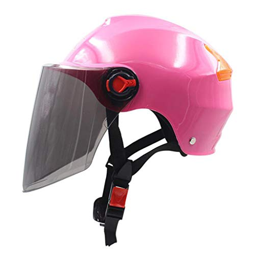 FEIYUESS Motorrad-Lokomotivenhelm, Unisex-Halbhelm mit UV-Schutz (Farbe : Pink)